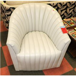 BOUTIQUE OFF WHITE LEATHERETTE CHANNEL CHAIR