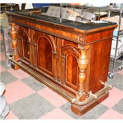 """WOOD AND STONE TOP BAR UNIT, 72""""X27""""X43"""""""