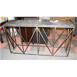 BOUTIQUE STONE TOP TRUSS CONSOLE TABLE,