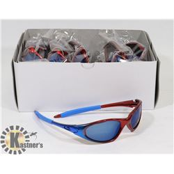 BOX OF BLUE AND RED DESIGNER SUNGLASSES