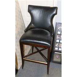 BOUTIQUE WOOD AND BLACK LEATHERETTE BAR STOOL