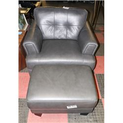 CHARCOAL ALL LEATHER CHAIR WITH OTTOMAN