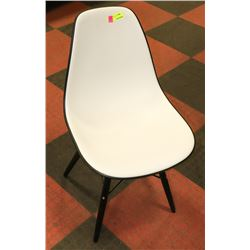 BOUTIQUE 2 TONE WHITE AND BLACK SIDECHAIR