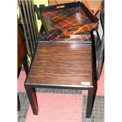 BOUTIQUE PAIR OF TIGER WOOD STYLE END TABLES WITH