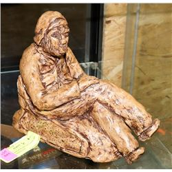VINTAGE CHALKWARE SCULPTURE OF MAN RESTING ON