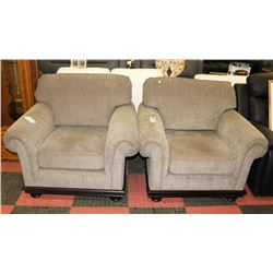 PAIR OF UNTAMED GRAPHITE FABRIC SOFA CHAIRS