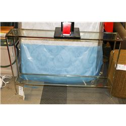 """BOUTIQUE METAL AND GLASS SOFA TABLE, 45""""X8""""X30""""."""
