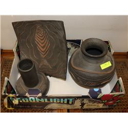 DECOR SET-PLATE AND 2 VASES