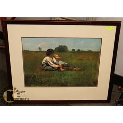 """43X35 """"BOYS IN THE FIELD"""" WATER COLOR PRINT."""