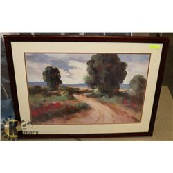"""40X30 FRAMED WATER COLOR PRINT """"ORCHARD SKY""""."""