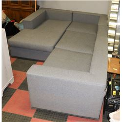 BOUTIQUE GREY FABRIC 4 PC CHAISE LOUNGE SECTIONAL