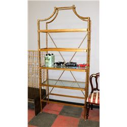 BOUTIQUE GOLD TONE SOLID METAL BOOKSHELF WITH 2/5