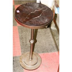 BOUTIQUE METAL AND STONE TOP END TABLE.