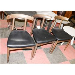 BOUTIQUE SET OF 3 WOOD AND LEATHERETTE SIDECHAIRS