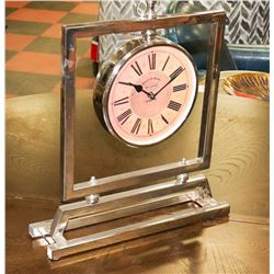 BOUTIQUE CHROME TABLE CLOCK. FURNITURE