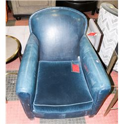 BOUTIQUE BLUE LEATHERETTE AND FABRIC ARM CHAIR