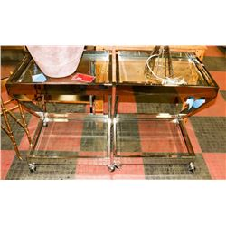 BOUTIQUE PAIR OF CHROME END TABLES ON WHEELS