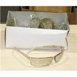 BOX OF SILVER FRAMED SUNGLASSES