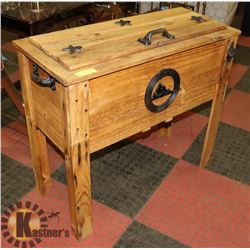 WOODEN DECK COOLER WITH GALVANIZED TUB & DRAIN