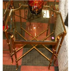 BOUTIQUE SOLID METAL AND GLASSTOP END TABLE-GOLD