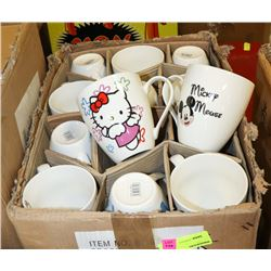CASE OF ASSORTED CARTOON COFFEE CUPS