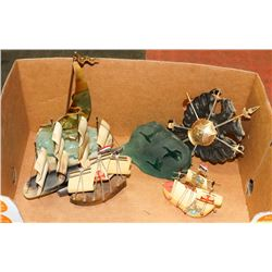 BOX OF SHIP ORNAMENTS WTH CREST AND DUCK CARVED