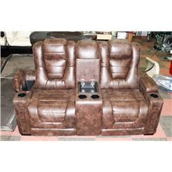 RUSTIC LEATHER POWER RECLINING AND HEADREST