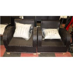 PAIR OF RATTAN STYLE LOUNGE CHAIRS