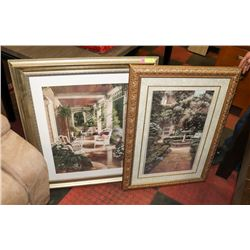LOT OF 2 ASSORTED GOLD TONE FRAMED PICTURES