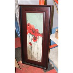 WOOD TONE FRAMED FLOWER PICTURE