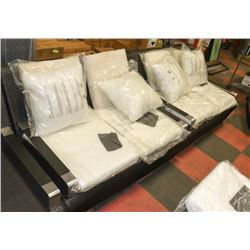 SET OF 2 NEW RATTAN STYLE LOVE SEATS WITH CUSHIONS