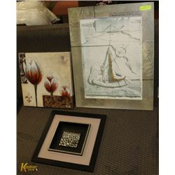 LOT OF 3 PICTURES - TULIP, ROCKS AND SPARKS BY THE