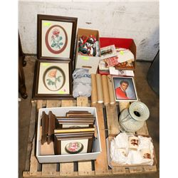 SMALL PALLET WITH ESTATE ITEMS-PRINTS, VASE,CUPS