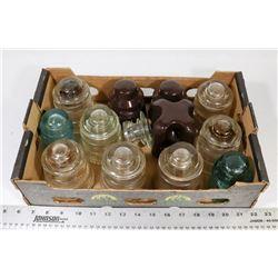BOX OF VARIOUS INSULATORS.
