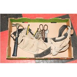 RONA LEATHER TOOL BELT COMPLETE WITH HAMMER,