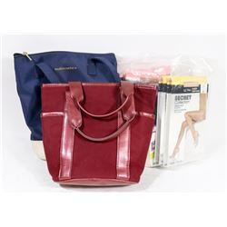 LOT WITH SMALL PURSES AND 6 PACKS OF PANTYHOSE