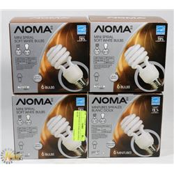 FOUR 6PACKS OF NOMA MINI SPIRAL BULBS.