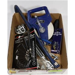 FLAT W/ HEX KEY SET, TAPE MEASURE WHEEL AND MORE.