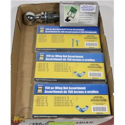 FLAT WITH THREE 150PC WING NUT ASSORTMENT & MORE.