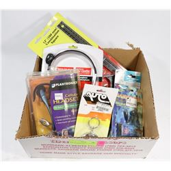 FLAT OF ASSORTED ELECTRONICS INCL HEADSETS AND