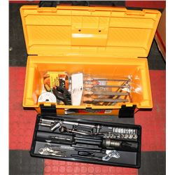 YELLOW RUBBERMAID TOOL BOX WITH CONTENTS