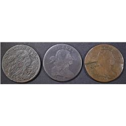 (3) 1806 LARGE CENTS LOW GRADE