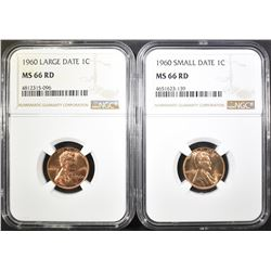 1960 SD & LD LINCOLN CENTS NGC MS-66 RD