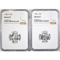 1946-P, S ROOSEVELT DIMES NGC MS-66FT