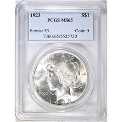 1923 PEACE DOLLAR PCGS MS 65