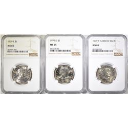 (3) SUSAN B. ANTHONY NGC MS-65