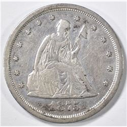1875-S 20-CENT PIECE  XF