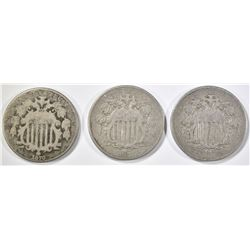 3 SHIELD NICKELS:  1867 VG, 1868 G/VG & 1870 G