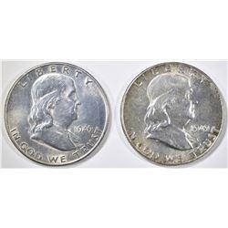 1949 CH BU & 1949-D AU BU FRANKLIN HALF DOLLARS