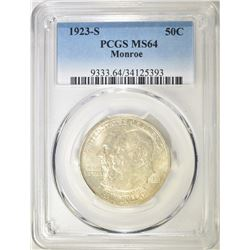 1923-S MONROE COMMEM HALF DOLLAR  PCGS MS-64